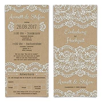 Hochzeitseinladungen Antwortkarte 30 Stuck Kraftpapier Spitze