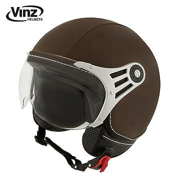 Casco de moto Vinz, casco tipo jet, moderno, color marrón, de piel