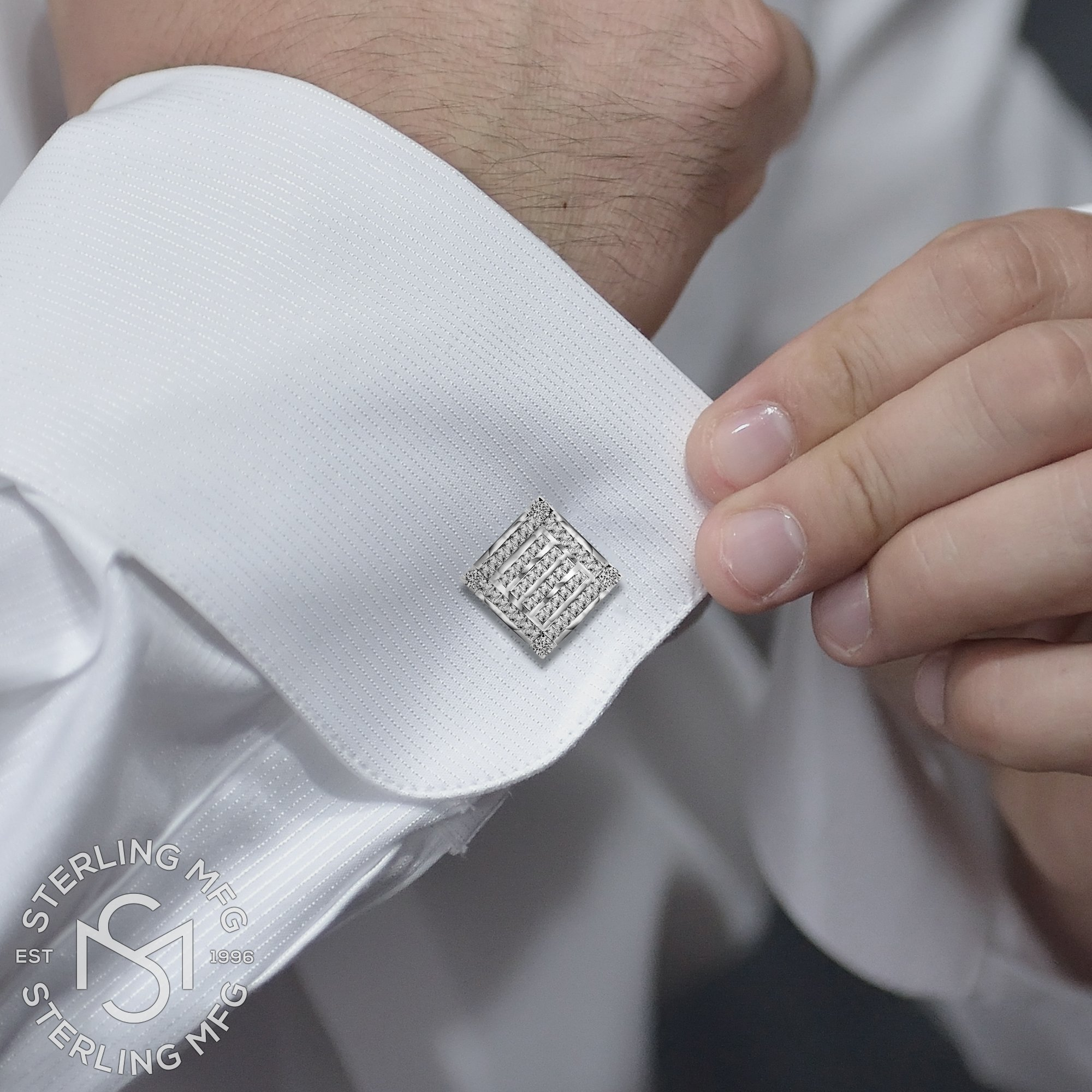 Men's Sterling Silver .925 Square Cufflinks with Channel-Set Baguette and Princess-Cut Cubic Zirconia Stones, Platinum Plated. 18.5 mm. By Sterling Manufacturers by Sterling Manufacturers (Image #3)