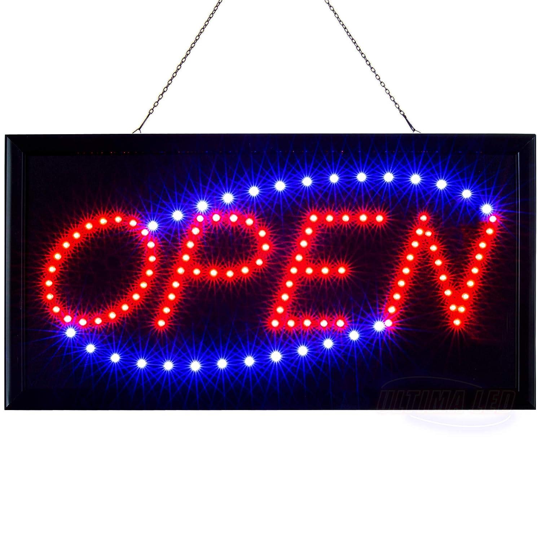 Cartel con LEDs, con texto «Open»: Amazon.es: Oficina y ...