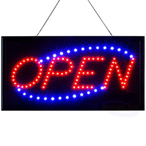 LED Neon Open Sign for Business: Lighted Sign Open with Static and Flashing  Modes – Electric Light up Signs for Stores, Bars, Barber Shops (19 x 10