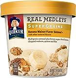 Quaker Real Medleys Super Grains Oatmeal+, Banana Walnut, Instant Oatmeal+ Breakfast Cereal, (Pack of 12)