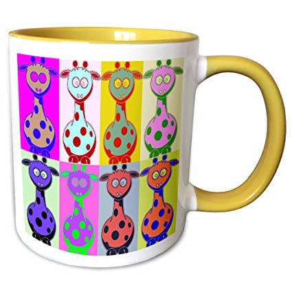 Buy 3drose Sandy Mertens Pop Art Designs Cartoon Giraffe Pop Art 11oz Two Tone Yellow Mug Mug 8064 8 Online At Low Prices In India Amazon In