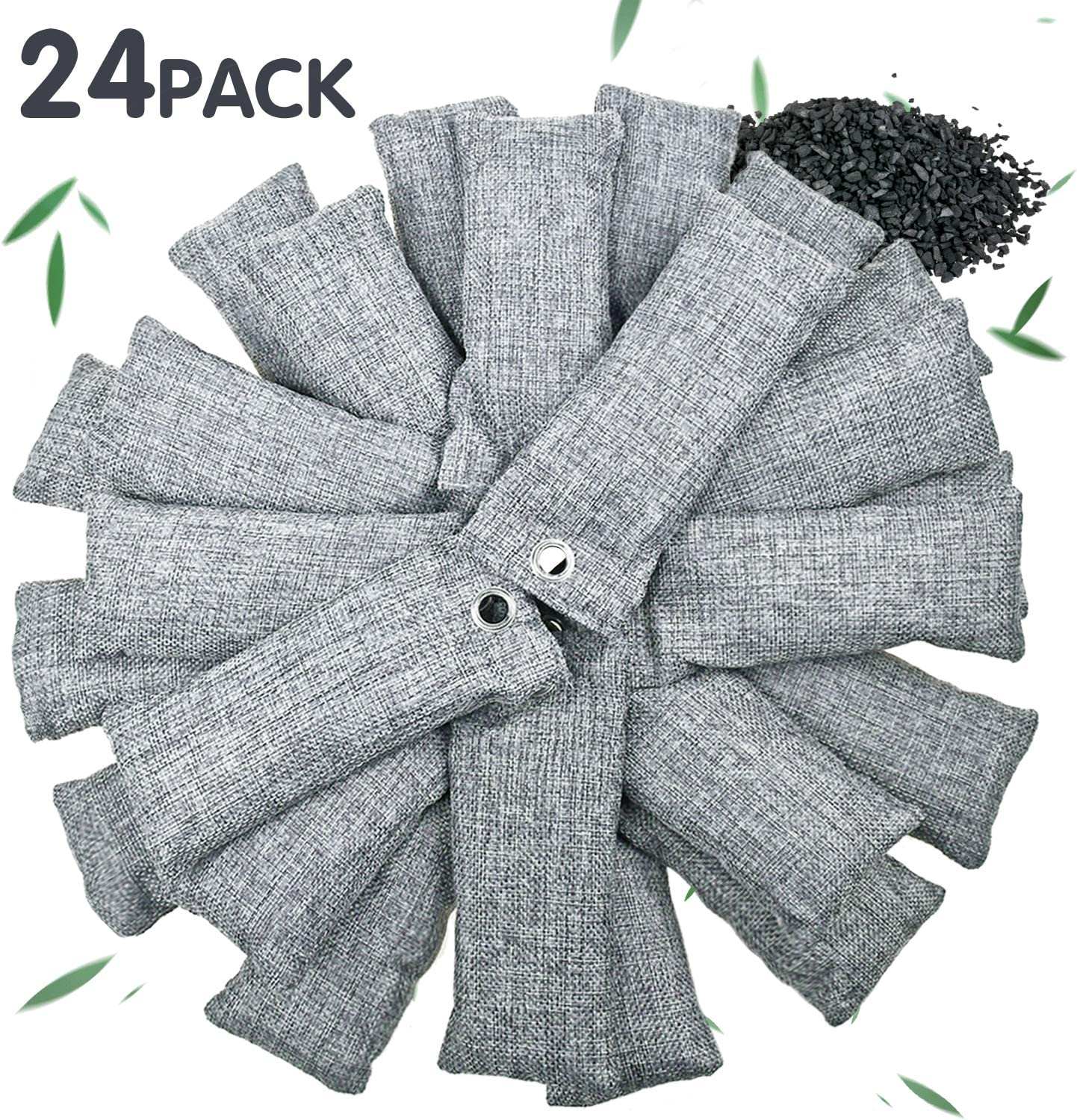 24 Pack Bamboo Charcoal Air Purifying Bag for Shoes, Natural Air Purifying Bags, Activated Charcoal Odor Eliminators, Home and Car Air Purifier, Closet Freshener,Odor Eliminating Charcoal Bags