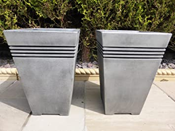 UK Gardens SET OF 2 Antique Grey Resin Plastic Garden Planters   Tall Large  Square