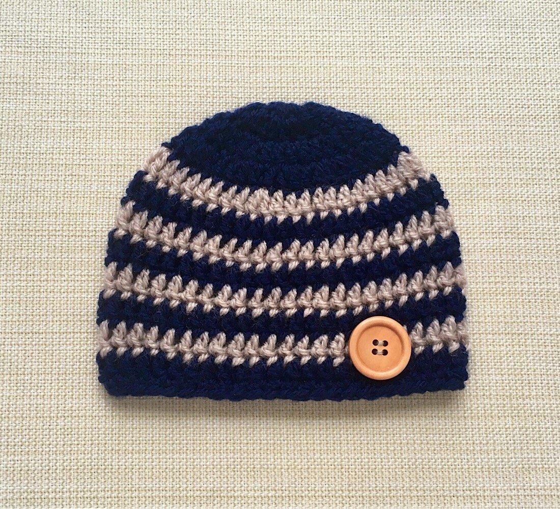 Amazon Striped Newborn Hats For Boys Navy Blue Crochet Baby