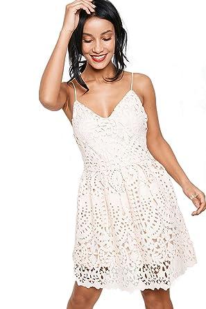 25012cd2843e Brand Attic Spaghetti Strap Pink Lace Women s Skater Dress  Amazon ...