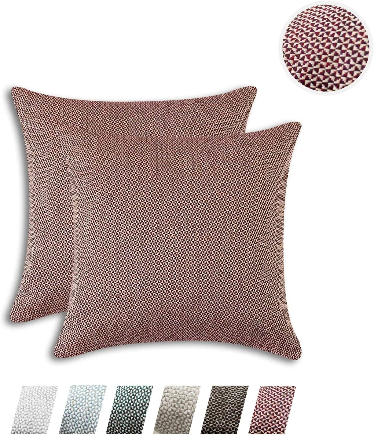 HPUK Woven Texture Decorative Throw Pillow Cover Pack of 2 Diamond Pattern Pillowcase Modern Farmhouse Euro Sham Cushion Cover 17x17 inch for Couch Sofa Living Room Office Car, Plum Red