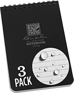 """product image for Rite In The Rain Weatherproof Top-Spiral Notebook, 4"""" x 6"""", Black Cover, Universal Pattern (No. 746-3), 3 Pack"""