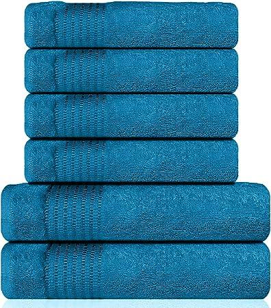 Lazzaro Home - Juego de toallas de algodón egipcio, 2 toallas de mano, 650 g/m², color gris, 100% algodón orgánico., verde azulado, 2 Bath And 4 Hand Towels: Amazon.es: Hogar