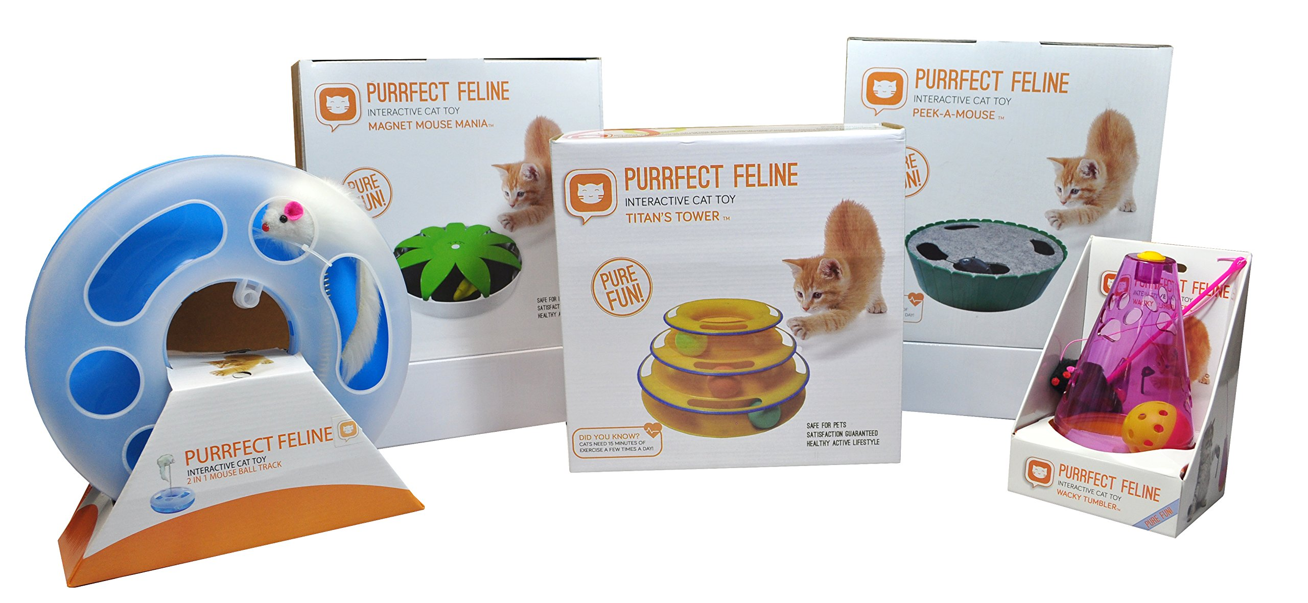 Purrfect Feline Titan's Tower - New Safer Bar Design, Interactive Cat Ball Toy, Exerciser Game, Teaser, Anti-Slip, Active Healthy Lifestyle, Suitable for Multiple Cats (Orange) by Purrfect Feline (Image #4)