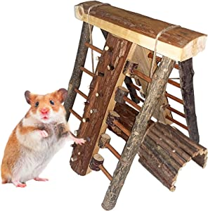 Hamiledyi Natural Wooden Hamster Climbing Perch Toy Activity Climb Platform Steps Stairs Gerbil Hanging Chew Tunnel Tube with Apple Wood Bridge for Chinchilla,Guinea Pig,Rat,Mouse