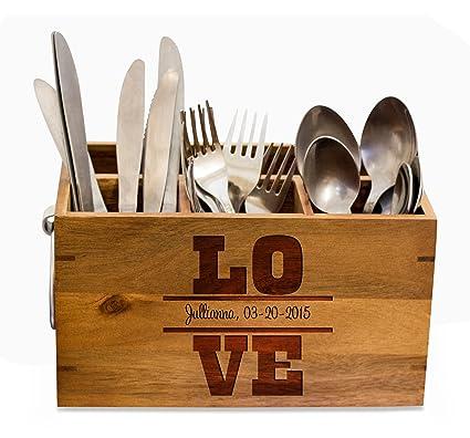 Amazon.com: Personalized Silverware Caddy, kitchen Utensil ...