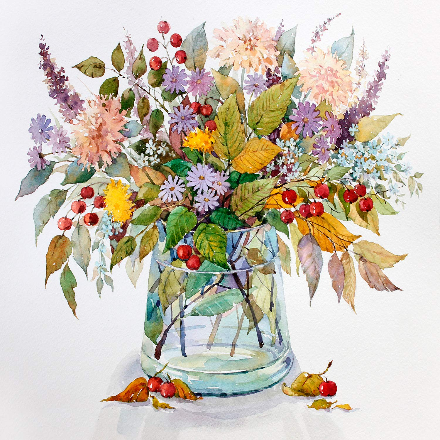 [Wooden Framed] DIY Painting, Paint by Number Kits for Adults - Flowers: Autumn Bouquet - Includes Brushes, Paints and Numbered Canvas - 16x20 Inch - Great for Kids and Adults - by Tsvetnoy by Tsvetnoy - the world of bright ideas