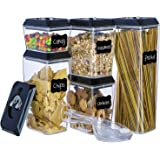 Airtight Food Storage Container Set - Stackable 5-Piece Lid Lock Set with 12 Erasable Chalkboard Labels, 1 Chalk Marker, and 3 Custom Scoops - Durable Plastic - BPA Free - Keeps Food Fresh and Dry