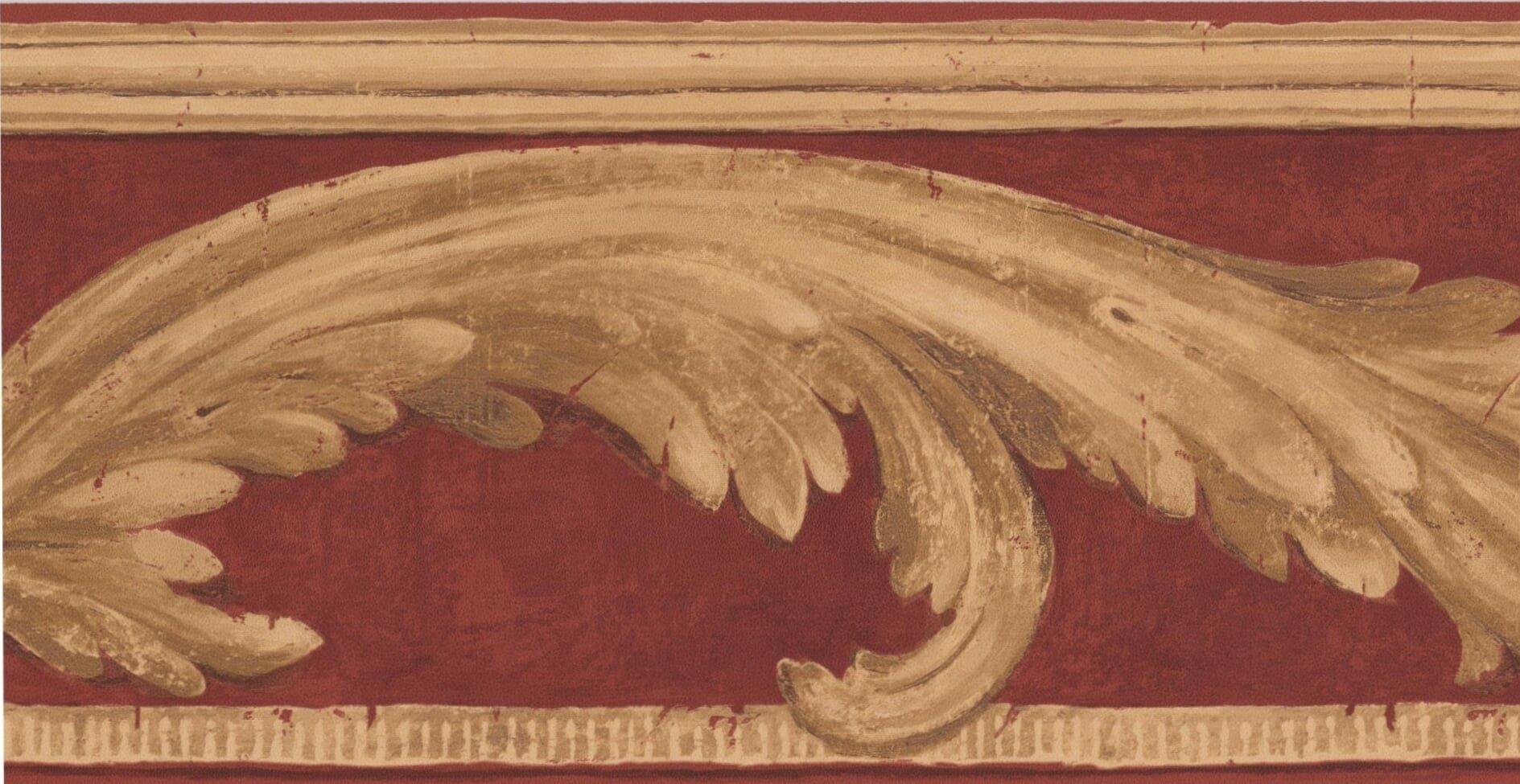 Beige Vine Scarlet Red Damask Victorian Wallpaper Border Vintage Design, Roll 15' x 7''