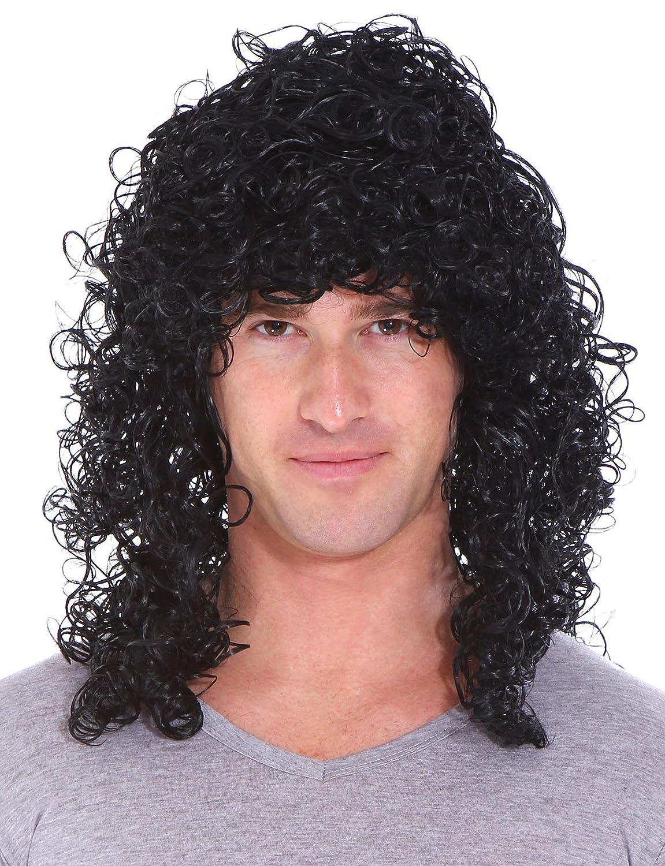 Simplicity Mens 80s Rocker Long Curly Wig Full Hair Black Wigs