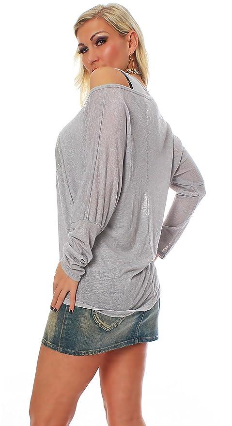 Zarmexx Ladies Camiseta 2 en 1 con manga larga de tipo murciélago, blusa con diseño de corazón de lentejuelas, talla única gris Hellgrau Talla única: ...