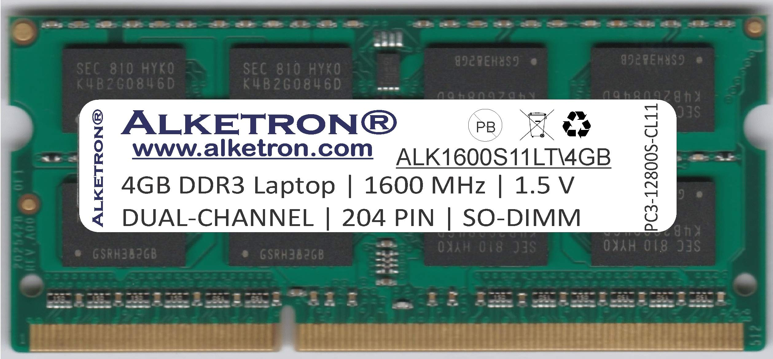 Alketron Dual Channel CL11 DDR3 RAM for Laptop 4GB 1600MHz SODIMM (B07MTPRKKP) Amazon Price History, Amazon Price Tracker