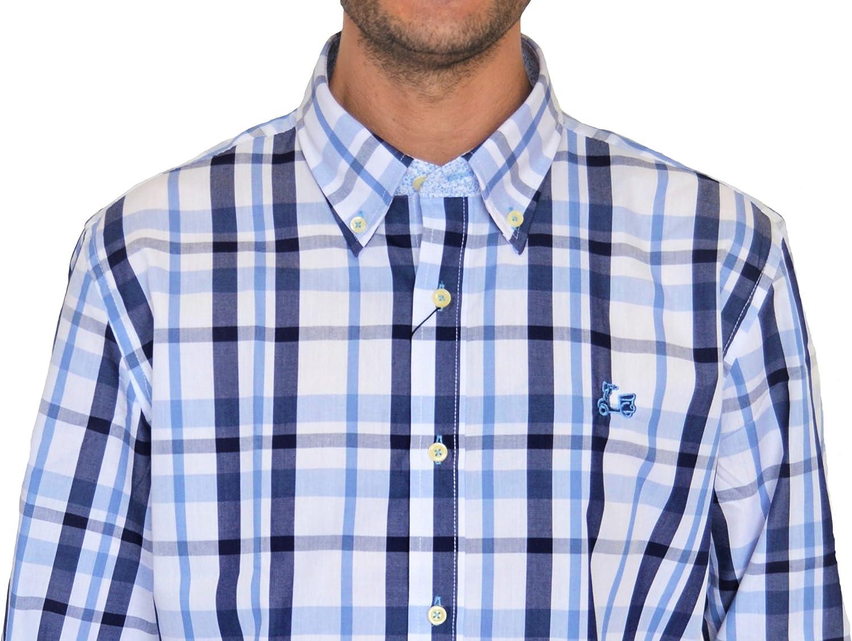 Ridebike Camisa de Cuadros Azules y Blancos Vespa | Diseño de los puños a Juego con el Cuello (1502) (XL): Amazon.es: Ropa y accesorios