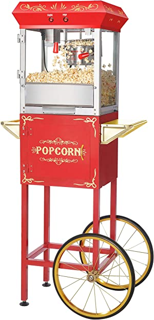 Great Northern Popcorn 6103 6 OZ Foundation Red Full Vintage Style Popcorn Machine and Cart