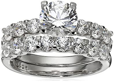 cacd93a12 Amazon.com: Platinum-Plated Sterling Silver Swarovski Zirconia Round-Cut Bridal  Set: Jewelry
