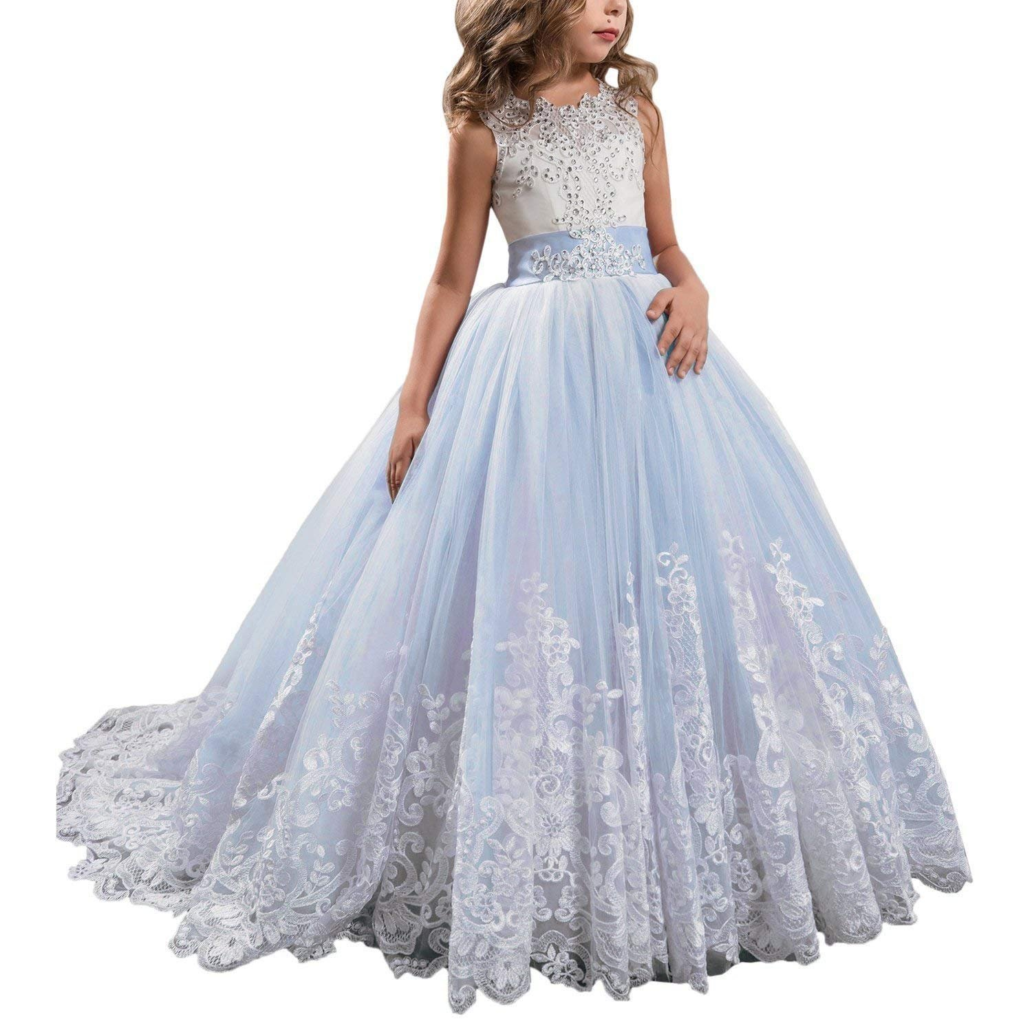 APXPF Long Tulle Flower Girl Dress Pageant Dresses Kids Prom Puffy Ball Gown