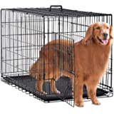 BestPet 48 inch 42 inch Large Dog Crate Dog Cage Dog Kennel Metal Wire Double-Door Folding Pet Animal Pet Cage with Plastic Tray and Handle