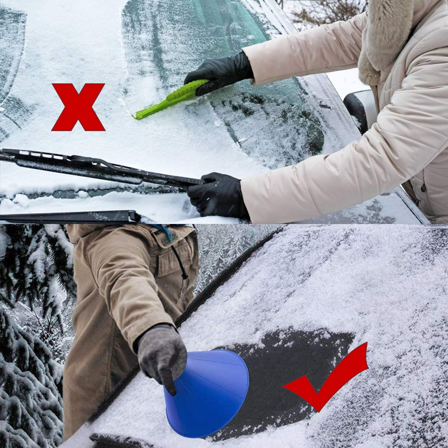 MOLECOLE Ice Scraper Magic Funnel Snow Removal Tool,Car Windshield Snow Removal Wiper,Ice Scraper Outdoor Tool,Round Deicing Scraping Tool Car Windshield Snow Scraper 4Pack