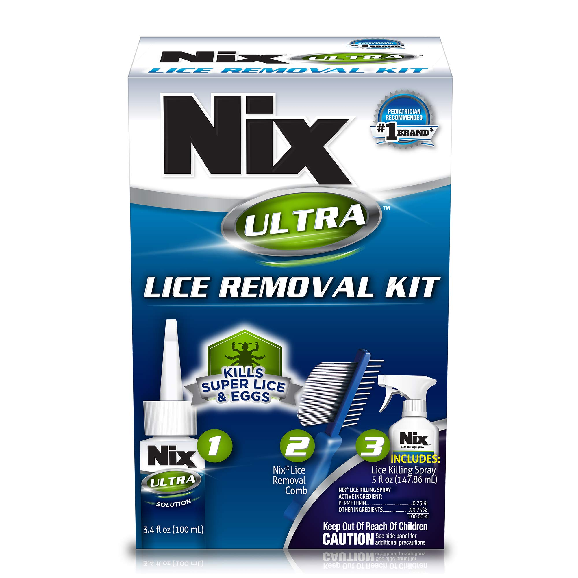 Nix Ultra Lice Removal Kit, Includes Lice Removal Comb and Control Spray, 3 Piece Set, 1 Count