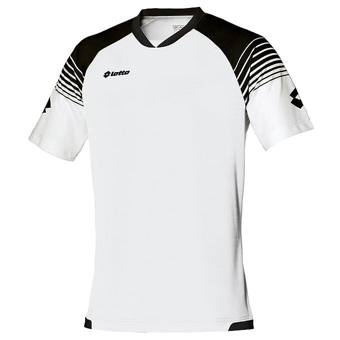 Lotto - Camiseta de fútbol transpirable Modelo Omega para hombre (2XL/Blanco/Negro