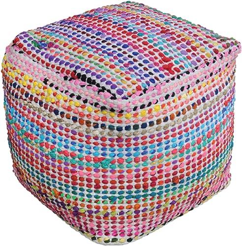 Marcela Hand Woven Fabric Pouf Ecru