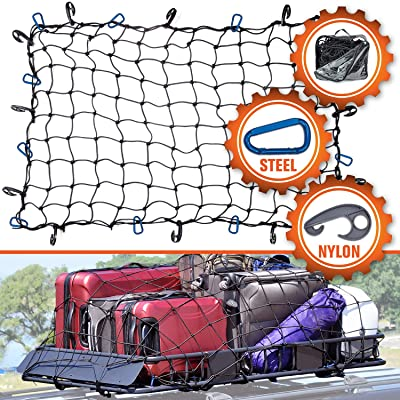 """3'x4' Super Duty Cargo Net, Bungee Net Stretches to 6'x8' for Oversized Rooftop Cargo Rack 