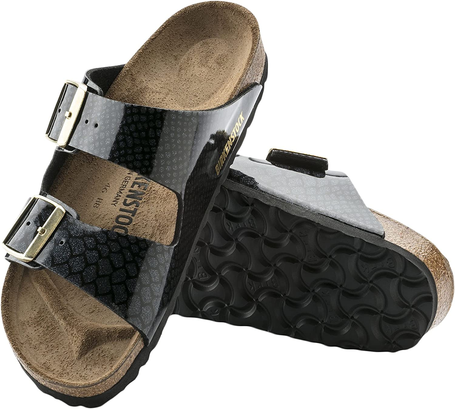Birkenstock Donna Arizona Birko-Flor Magic Snake Moda Fibbia Sandali Magic Snake Nero
