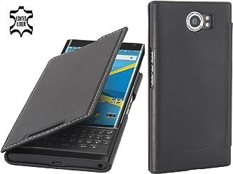 StilGut Book Type Case con Clip, Custodia in Pelle con Funzione On/off per Blackberry PRIV, Nero Nappa