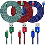 USB C Cable, UNISAME 3 Pack 10Ft Rugged Bold Braided USB Type C 3.1 to USB 2.0 Data Charging Cable Reversible Connector for Galaxy S8 S8+ Note 8, LG G6 G5 V20, Nexus 6P 5X, Oneplus 3 5, ZTE