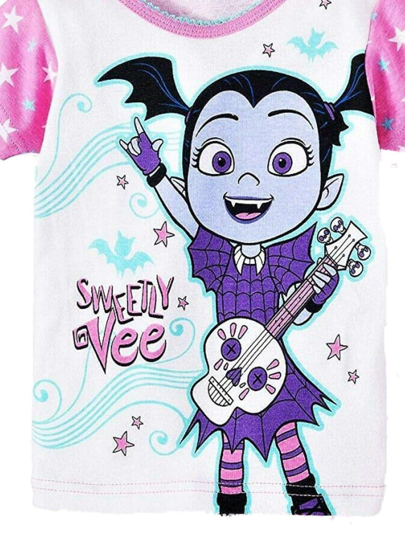 Disney Toddler Girls Pink Vampirina Sweetly Vee Cotton Pajama Sleep Set