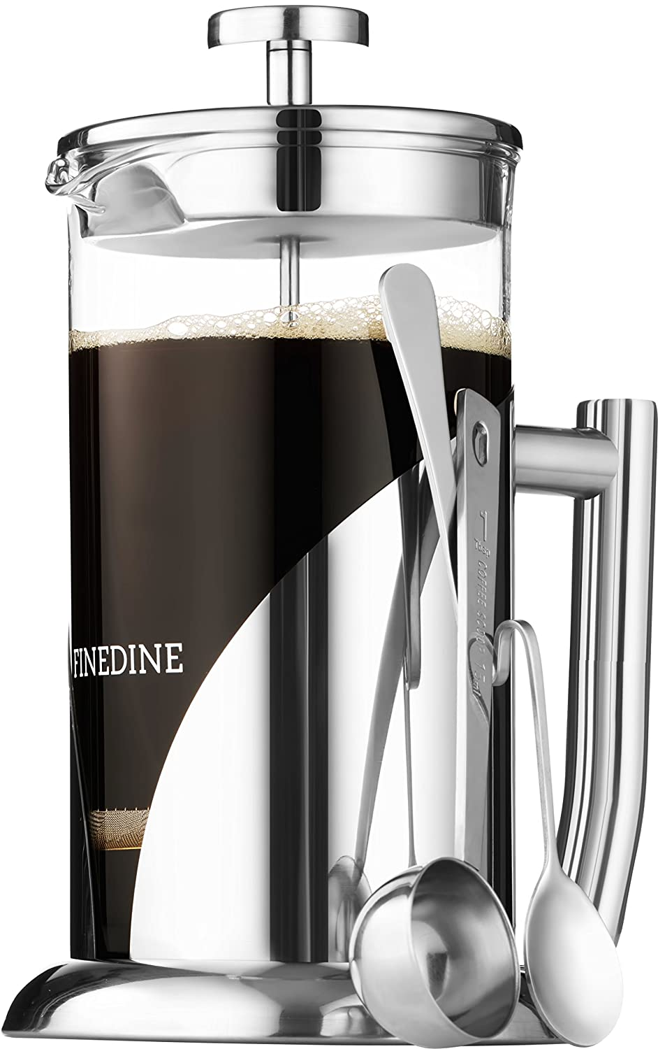 Finedine French Press Coffee Maker - (34-Oz) 18/8 Stainless Steel Double Wall Insulated Retains Heat Longer - Triple-Screen Grounds Filter System, Sleek Matte Black, Extra Filter & Components Included FD-SK501