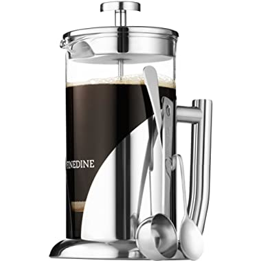 French Press Coffee Maker - Stainless Steel, with 34 Ounce Borosilicate Glass Heat Resistant Beaker, Triple Filtered European Style Coffee Press - Includes Spoon, Measuring Scoop & Bonus Filter