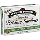 Crown Prince Crosspacked Brisling Sardines in Extra Virgin Olive Oil, 3.75-Ounce Cans (Pack of 12)