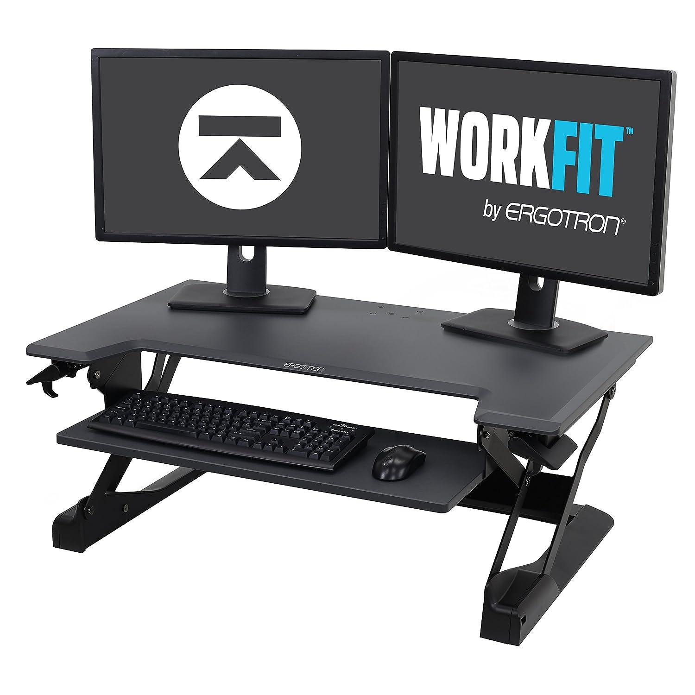 Black 37.5  wide Ergotron 33-397-062 Stand Table WorkFit - White
