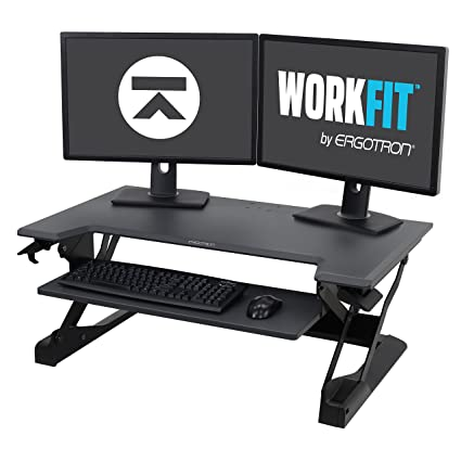 Ergotron WorkFit TL, Sit Stand Desk Converter | Black, 37.5u0026quot; Wide