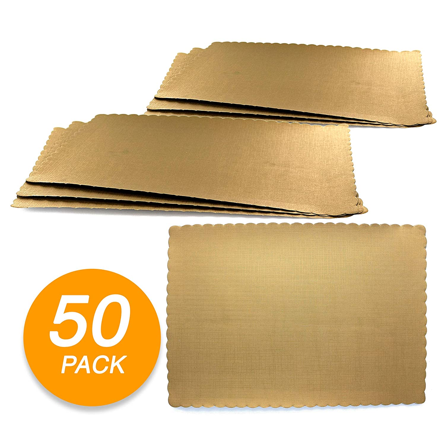 SparkSettings Disposable Paper Placemat for Dining Table Easy to Clean Made of Paper Great for Various Party, Events, Festivals or Occasions - Gold (50/Pack)