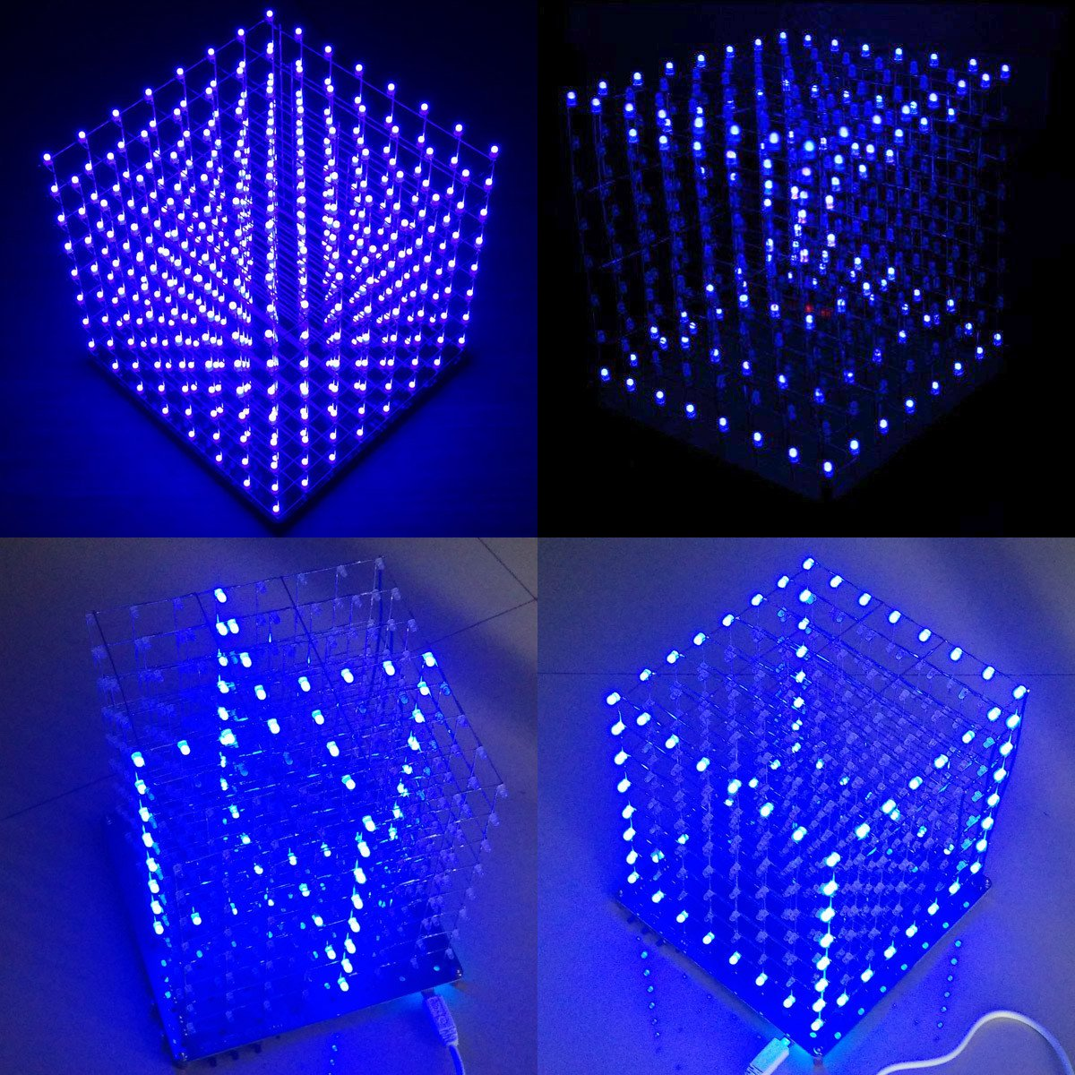 Arduino Diy 8x8x8 Led Cube 3d Light Square Electronic Christmas Lights Soldering Sarter Kit Board Blue Computers Accessories