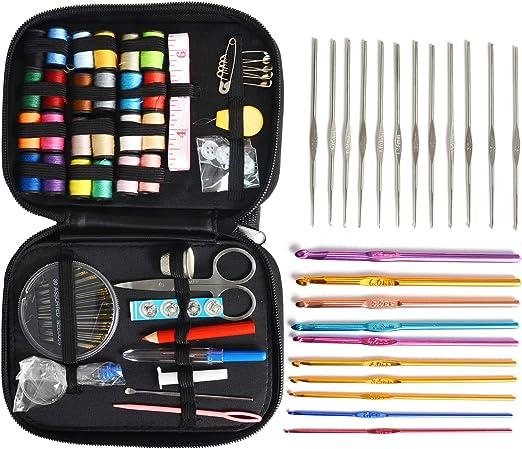 Ceshd - Juego de 105 agujas de ganchillo con mango de aluminio mezclado, para tejer, tejer o coser: Amazon.es: Juguetes y juegos