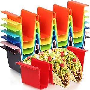 Youngever 8 Pack Plastic Taco Holder Stand, Dishwasher Top Rack Safe, Microwave Safe, Set of 8 Assorted Colors