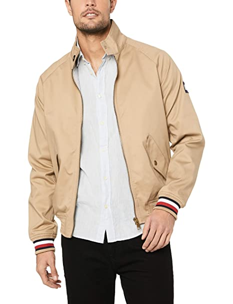 on sale f8e4b 8cc0c Tommy Hilfiger Uomo - Giacca Harrington Beige con Nastro ...