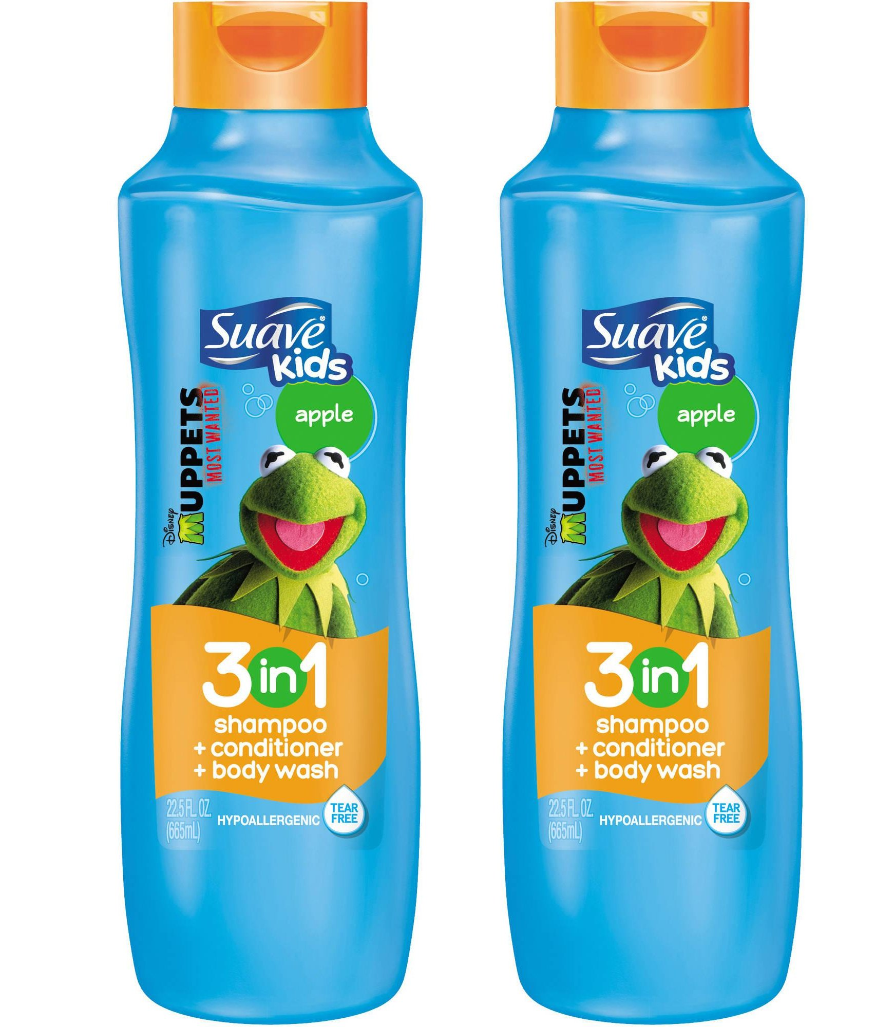Suave Kids 3 in 1 Shampoo / Conditioner / Body Wash, Splashing Apple Toss- 22.5 oz, 2 Pack