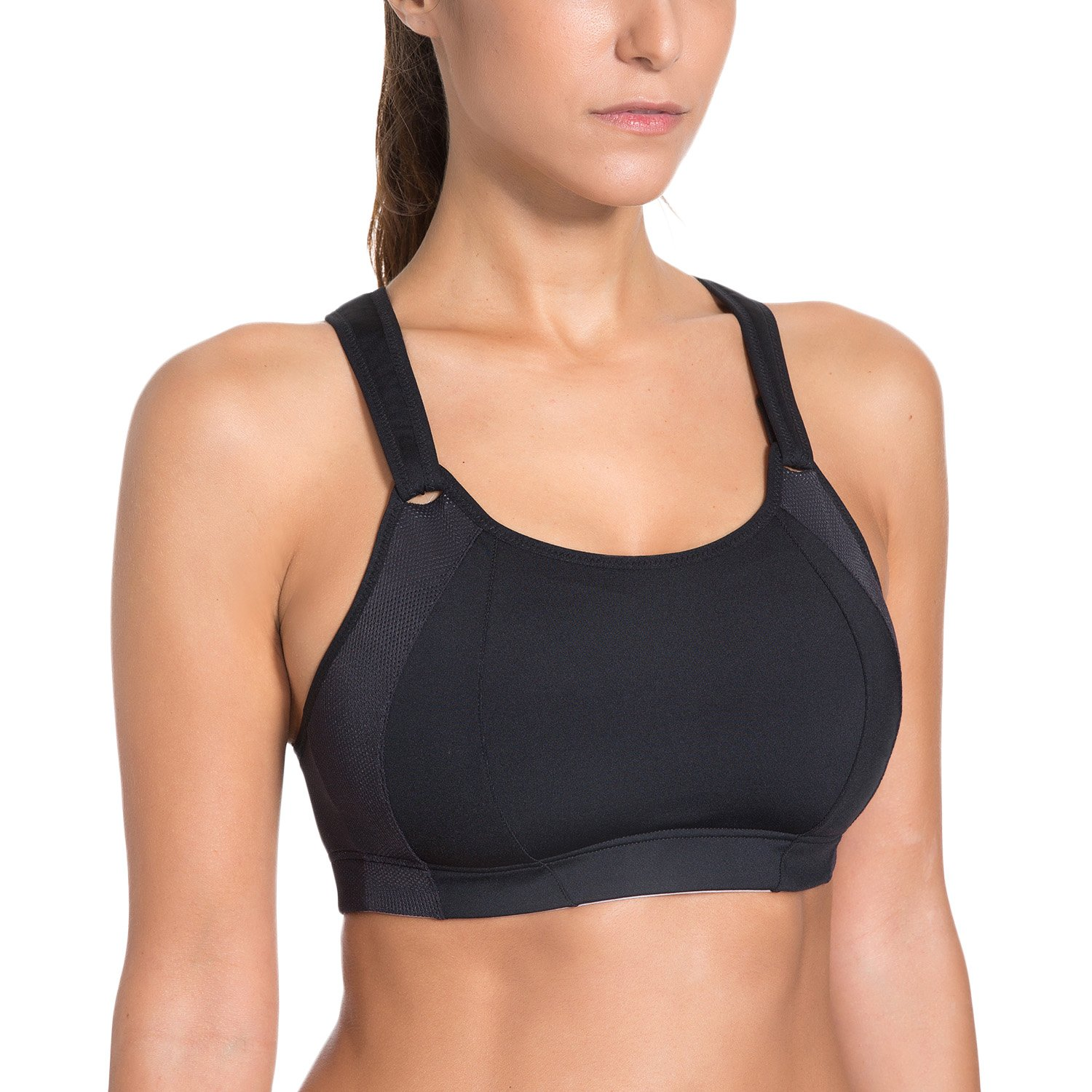 bfd7b153d34 SYROKAN Women s Front Adjustable Lightly Padded Racerback High Impact  Sports Bra at Amazon Women s Clothing store