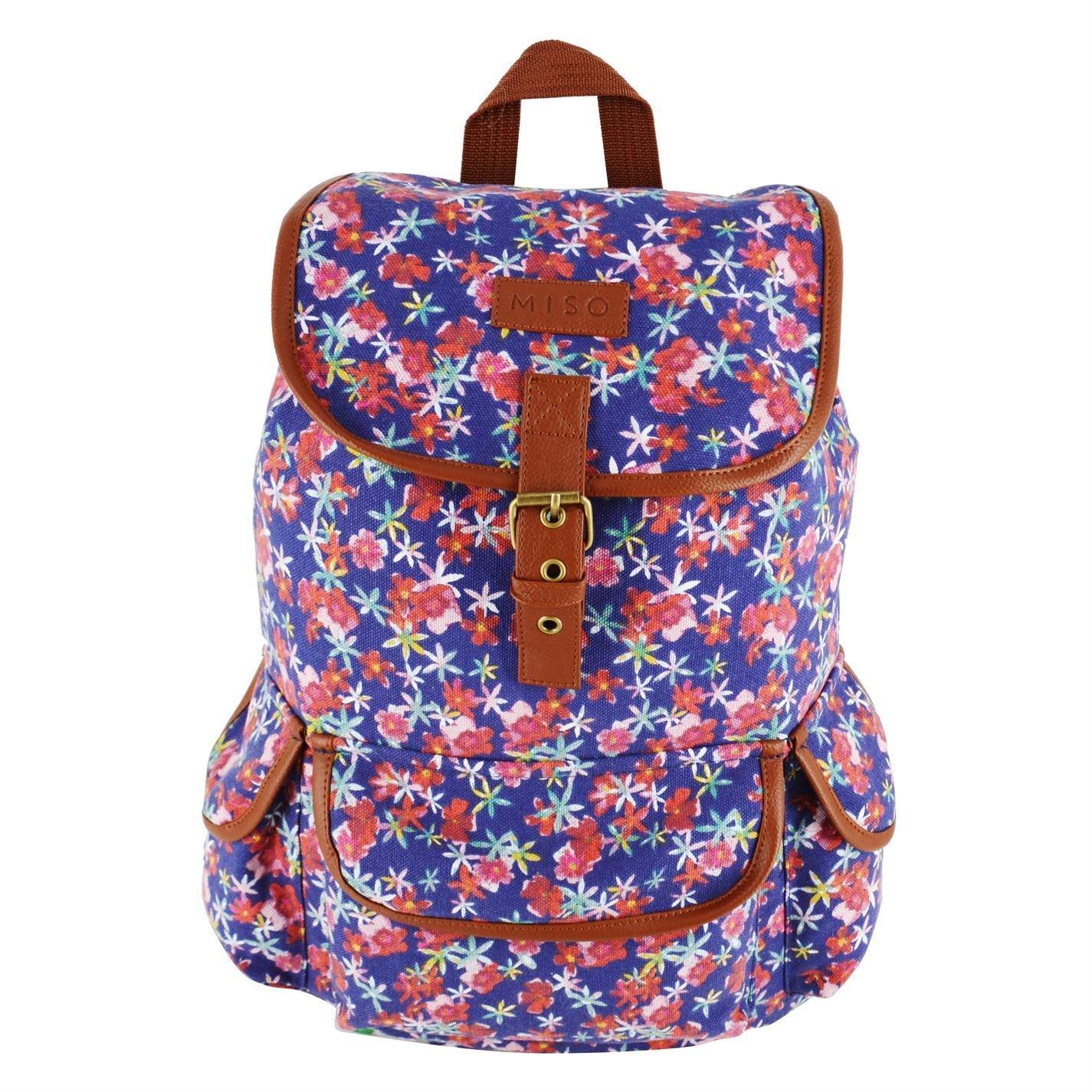 Miso Womens Canvas Backpack Back Pack Print Drawstring Printed